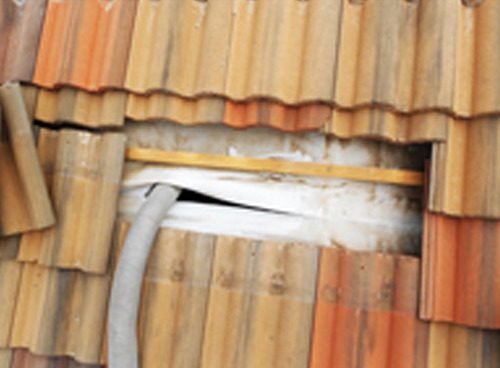 Pipe passed into the roof